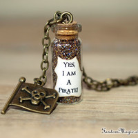 Yes, I Am a Pirate Magical Necklace with a Jolly Roger Flag Charm, by Fandom Magic