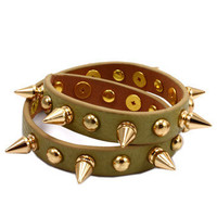 Beige Wrap Bracelet with Gold Studs and Spikes