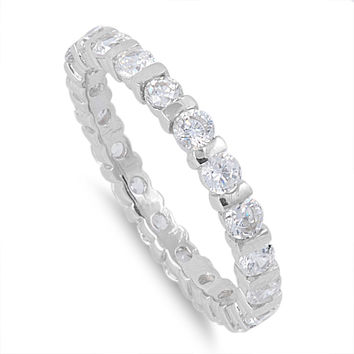 925 Sterling Silver CZ Tension Style Eternity Ring 3MM
