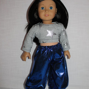 18 inch doll clothes, Harem, dance, shiny, blue yoga pants, and grey crop top with silver stars, american girl, maplelea
