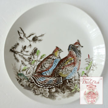 Vintage Johnson Brothers Polychrome Brown Transferware Plate English Ironstone Game Bird Grouse Hand Painted