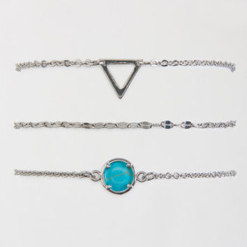 Triangle Faux Gem Ankle Bracelet 3-Pack - Aeropostale