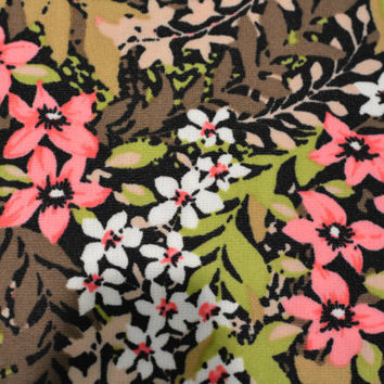 Vintage Retro 70s Polyester Double Knit Floral Fabric Yardage - Pink, Brown, Green, White 2.5 yd