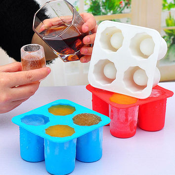 Silicone 4-Cup Shaped Ice Cube Shot Glass Freeze Mold Maker Tray Bar New Summer