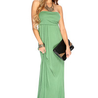 Sexy Green Strapless Draping Design Summer Maxi Dress