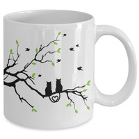 Cat Coffee Mug - Love Cats in Tree - 11 oz Gift Mug