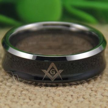 Black Silver Edges Concave Masonic Tungsten Ring Free Engraving