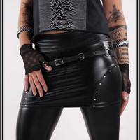 Poison Idea - Black WETLOOK Mini Skirt with Studs Studded Punk Gothic Bikerwear Fetishwear Newrock Deathrock Fauxleather Leather Sexy Hot