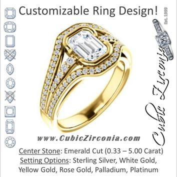 Cubic Zirconia Engagement Ring- The Paola (Customizable Cathedral-Bezel Emerald Cut Design with Wide Triple-Split-Pavé Band)