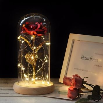 2018 The most popular Beauties And The Beasts Gilded red roses with LED lights for Valentine's Day gift birthday gift