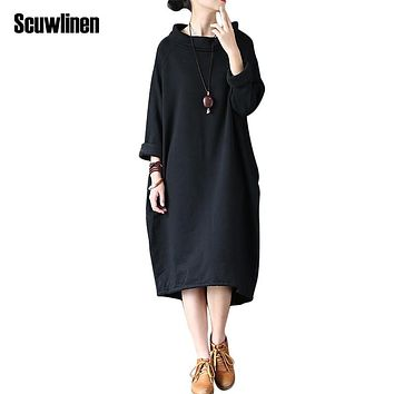 SCUWLINEN 2017 Spring Autumn Dress 100% Cotton Women Dress Vestidos Loose Fleece Thickening Turtleneck Long-sleeve Long Robe S60
