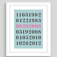 8x10 Important Special Dates Birthday Anniversary Art Print Wedding Children Kids Birth Custom Gift