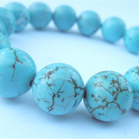 Turquoise Bead Bracelet Blue Handmade Round by VillaCollezione