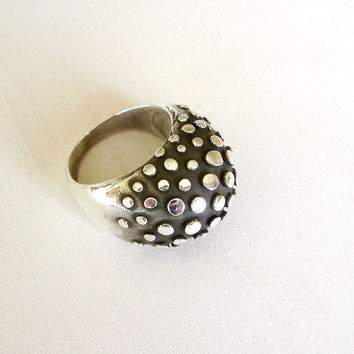 Sterling Silver Dots Ring - Black and Silver Dots texture - Contemporary Geometric Significant Ring - Big and Comfortable - Unique Original