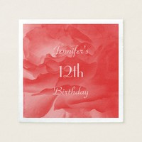 Coral Pink Rose Paper Napkins, 12th Birthday Napkin
