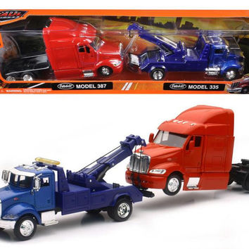 Peterbilt Model 335 Tow Truck Blue and Peterbilt Model 387 Cab Red 1-43 by New Ray
