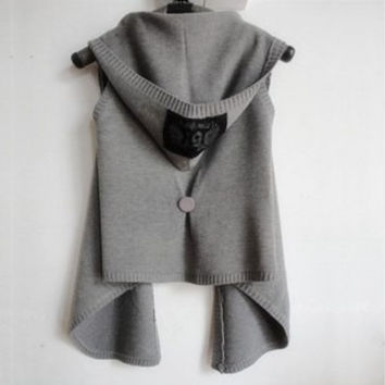 2016 New Autumn Winter Women Vest with hood knitted woman vest sweater cardigan cape sleeveless outerwear black,light dark grey