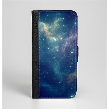 The Subtle Blue and Green Nebula Ink-Fuzed Leather Folding Wallet Case for the iPhone 6/6s, 6/6s Plus, 5/5s and 5c
