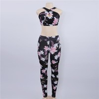 Floral Printed Sports Sets Fitness Clothing 2 pieces Workout Set Gym Tracksuit Sexy Running Yoga Sets Padded Sports Bra Leggings