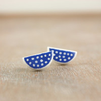 Polka dot stud earrings, royal blue half moon contemporary jewelry