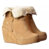 Rocket Dog Boyd Fur Lined Suede Wedge Heel Platform Ankle Boots - Black, Sand, Tribal Brown - Rocket Dog from Onlineshoe UK
