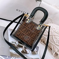 FENDI New Women's Two-Piece Transparent Tote Cosmetic Bag