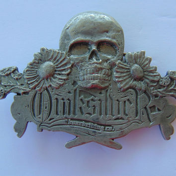Vintage Quiksilver Skull and Floral Flower Pewter Belt Buckle