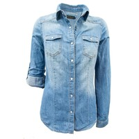 Chambray Denim Shirt, Lt Wash