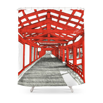 Society6 Japanese Temple Shower Curtains