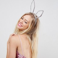 ASOS Velvet Bunny Ears Headband at asos.com