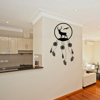 Buck and bird with peacock feathers dream catcher vinyl wall decal, wall sticker, decal, vinyl decal, home decor, graphic decal, wall art