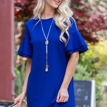 Tiered Flutter Sleeve Weekend Dress | Royal Blue