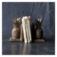 Creative Co-Op Resin Pineapple Book Ends (Set of 2)