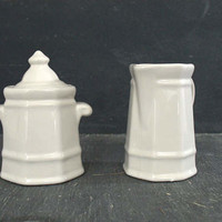 Small White Ironstone Pitcher, Pfaltzgraff Heritage Milk Pitcher and Sugar Bowl, White Stoneware Serving Pieces,