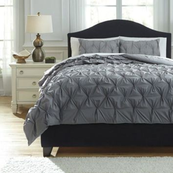 Q756023K Rimy King Comforter Set - Gray - Free Shipping!
