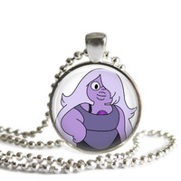 Amethyst 1 Inch Silver Plated Picture Pendant Steven Universe Necklace
