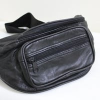 Vintage Basic Black Faux Leather Three Zippered Fanny Pack