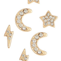 Moon Stud Earring Set