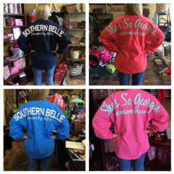 Southern Belle Spirit Jersey Shirts with monogram on front left chest