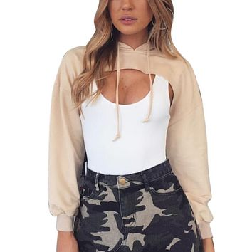 Hooded Cut Out Halter Short Sweatshirts Casual Pullovers Women Sudaderas Girls Hoodie Woman Cozy Cropped Tops Tracksuits Female