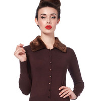 Voodoo Vixen Brown Faux Fur Collar Cardigan