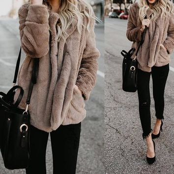 Trendy Lossky Women Autumn Winter Thick Warm Velvet Faux Fur Coat Long Sleeve Jacket 2018 Jacket Female Plush Overcoat Casual Outerwear AT_94_13
