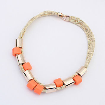F&U Hot sale Brand Design western style multi-layer Hand-woven Weave Acrylic necklaces & pendants jewelry statement New #2423