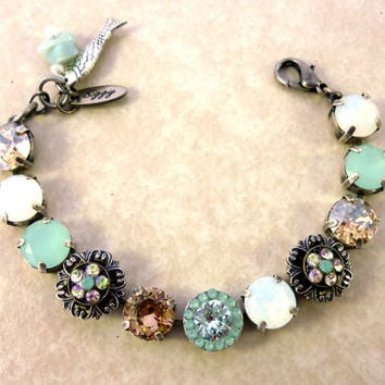 BAHAMA FANTASY Swarovski crystal bracelet, white opals, mint green, flower embellished Siggy bling