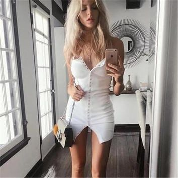 Summer Women Slim Slim Fit Package Hip Button One Piece Dress _ 13485
