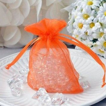 "10 Orange Organza Favor Pouches 3""x4"" Wedding Baby Shower Party Gift Bags"