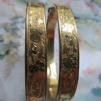 Victorian antique Pair of Wedding Bracelets Gold Fill