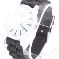 Black Detailed Round Face Rubber Watch