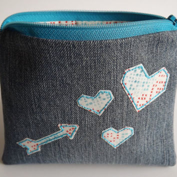 Zippered Arrow and Hearts Coin Purse - Upcycled