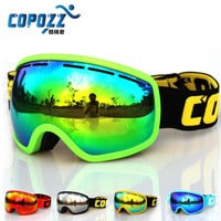 COPOZZ brand ski goggles double lens anti-fog UV400 large mask skiing snowboarding men women snowboard goggles GOG-207
